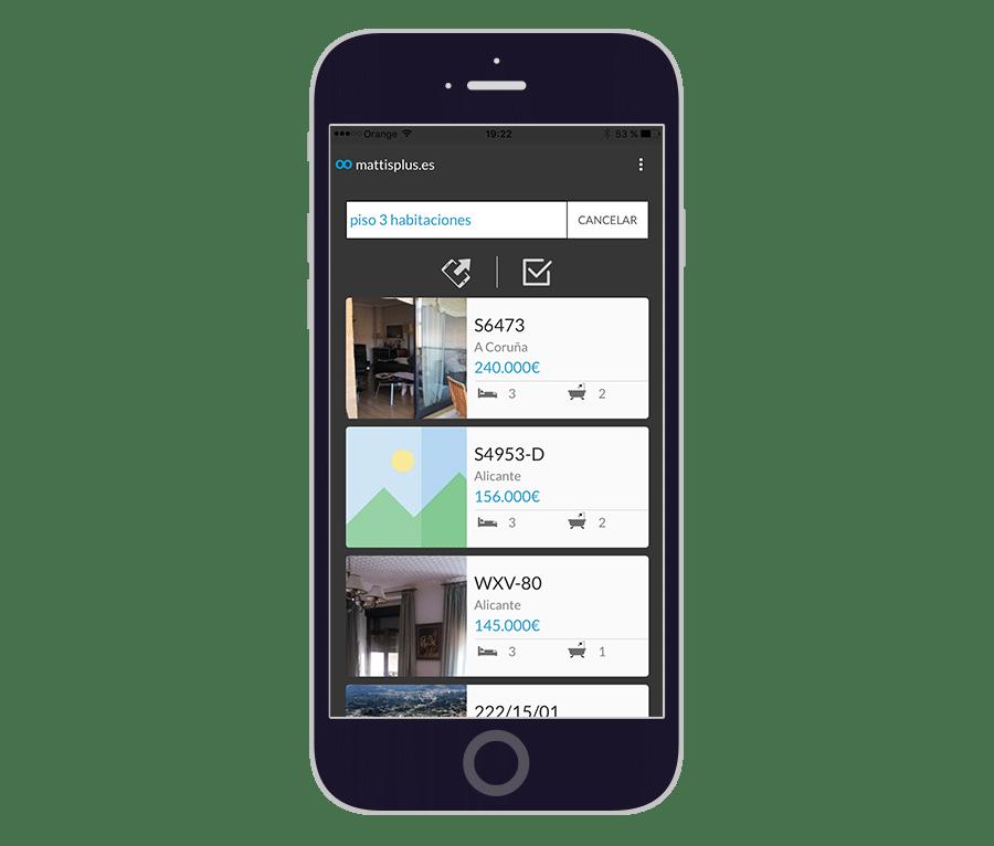 Listado propiedades en App